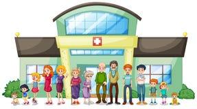 Duża rodzina na zewnątrz szpitala ilustracja wektor