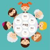Duża rodzina wokoło passover talerza, pesah w hebrew ilustracji