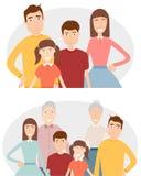 Duża rodzina z dziećmi, rodzicami i dziadkami, Rodzinny portret odizolowywający na białym tle wektor ilustracja wektor