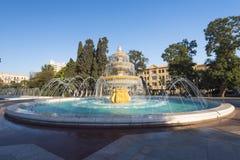 Duża round fontanna w Sahil parku Zdjęcia Stock