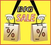 Duża sprzedaż! Podpisu procentu rabat, torba na zakupy Zdjęcia Royalty Free