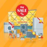 Duża sprzedaż w elektronika Przechuje Wektorowego Płaskiego pojęcie Fotografia Stock