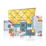 Duża sprzedaż w elektronika Przechuje Wektorowego Płaskiego pojęcie Obraz Royalty Free
