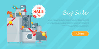 Duża sprzedaż w elektronika Przechuje Wektorowego Płaskiego pojęcie Zdjęcie Royalty Free