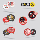 Duża sprzedaży etykietka ustawiająca z procentu znakiem Zdjęcie Royalty Free