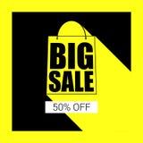Duża sprzedaży torba na zakupy sylwetka z długim cieniem Sprzedawanie sztandar, pomija pięćdziesiąt procentów na żółtym guzika tl Obraz Royalty Free