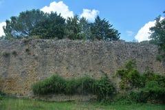 Duża stara przerastająca kamienna ściana z drzewami i niebieskim niebem w Volterra fotografia stock