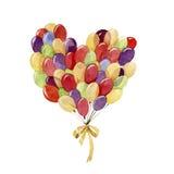 Duża wiązka balony serce odizolowane kształtu white pomidorowego ilustracji