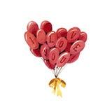 Duża wiązka balony serce odizolowane kształtu white pomidorowego Fotografia Stock