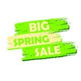 Duża wiosny sprzedaż, zielenieje patroszoną etykietkę Fotografia Stock