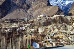 Duża wysokość lodowiec i wioska Zdjęcie Royalty Free