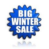 Duża zimy sprzedaż w 3d błękitnej gwiazdy sztandarze Obraz Stock