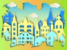 Duże chmury i miasto ilustracja wektor