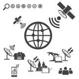 Duże dane ikony ustawiać, satelita Fotografia Stock