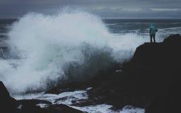 Duże fala na Oregon wybrzeżu Zdjęcia Royalty Free