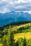 duże krajobrazowe halne góry Kaukaz, Svaneti, Ushguli, Ushba, Gruzja Fotografia Royalty Free