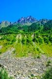 duże krajobrazowe halne góry Kaukaz, Svaneti, Ushguli, Ushba, Gruzja Obraz Stock