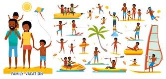 Duże ustalone wakacje rzeczy w płaskim projekcie Czas wolny z rodziną na tropikalnej pogodnej plaży obcy kreskówki kota ucieczek  Obraz Royalty Free