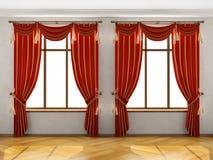 duże wnętrza dwa okna Obraz Royalty Free