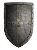 Dużego krzyżowa metalu średniowieczna osłona odizolowywająca Zdjęcia Stock