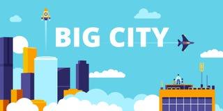 Dużego miasta miastowy płaski wektorowy ilustracyjny mądrze zdjęcie stock