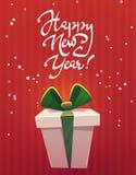 Dużego ogromnego prezenta pudełka życzenia nowego roku teraźniejszości szczęśliwy powitanie, klasyczna czerwieni zieleń, białe bo ilustracji