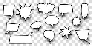 Dużego setu mowy bąbla komiczki pusty tekst Obrazy Stock