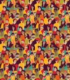 Dużego tłumu szczęśliwi ludzie barwią bezszwowego wzór Fotografia Stock