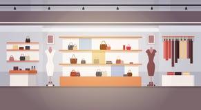 Dużej moda sklepu Super rynku kobiety zakupy centrum handlowego Odzieżowy Wewnętrzny sztandar Z kopii przestrzenią royalty ilustracja