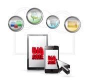 Dużej sprzedaży ecommerce technologii online pojęcie. Obrazy Royalty Free