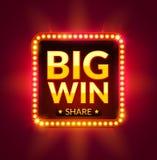 Dużej wygrany rozjarzony sztandar dla onlinego kasyna, szczeliny, karcianych gier, grzebaka lub rulety, Najwyższa wygrana projekt Zdjęcia Stock