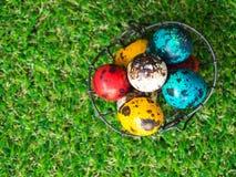 Dużo kolorowi Easter jajka są w koszu Kosz Wielkanocni jajka umieszczający na zielonej trawie Wielkanocny dnia pojęcie Obraz Stock