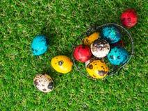 Dużo kolorowi Easter jajka są w koszu Kosz Wielkanocni jajka umieszczający na zielonej trawie Wielkanocny dnia pojęcie Obrazy Stock