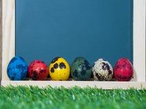Dużo kolorowi Easter jajka umieszczający przed blackboard Chalkboard z kolorowym Easter jajka umieszczający na zielonej trawie Wi Obraz Royalty Free
