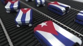 Dużo podróżują walizki uwypukla flagę Kuba Kuba?skiej turystyki konceptualna animacja ilustracja wektor