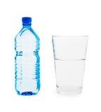 duży błękitny botlle szklana mała woda Zdjęcia Stock