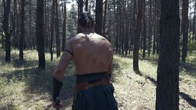 Duży barbarzyńcy wojownik z cioskami w oba rękach sieka gałąź zdjęcie wideo