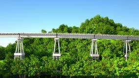 Duży betonu most na wyspie nad morzem Realistyczna latająca animacja 4k materiał filmowy ilustracji