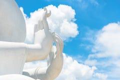 Duży Biały Buddha wizerunek w Saraburi, Tajlandia Obraz Royalty Free