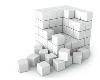 Duży Biały sześcian Mali sześciany na Białym tle Zdjęcie Stock