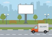 Duży billboard na drodze z miasto widoku tłem Zdjęcie Royalty Free