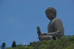 Duży Buddha pojawiać się siedzieć wśród drzew Zdjęcia Royalty Free