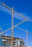 duży budowy żurawi miejsce Obrazy Royalty Free