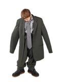 duży butów chłopiec podłogowy przyglądający mężczyzna s kostium Zdjęcia Stock