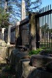 duży ceglana dekoracyjna płotowa bramy żelaza kratownica obraz stock