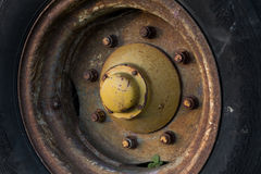 Duży ciężki koło i opona Fotografia Stock