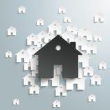 Duży czerń dom Z bielem Stwarza ognisko domowe tło royalty ilustracja
