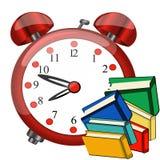 Duży czerwony budzik, kolor książki, nauki ikona Obraz Royalty Free