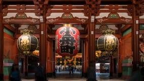 Duży czerwony lampion Sensoji Asakusa świątynia w Tokio, Japonia obraz stock
