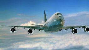 Duży dżetowego samolotu latający zbliżenie w niebie zdjęcie wideo